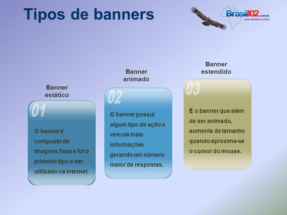 O banner é composto de imagens fixas e foi o primeiro tipo a ser utilizado na Internet.