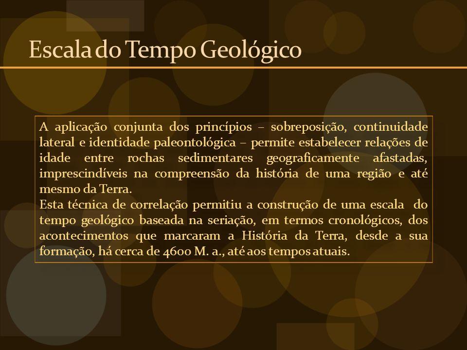 Escala do Tempo Geológico A aplicação conjunta dos princípios – sobreposição, continuidade lateral e identidade paleontológica – permite estabelecer r