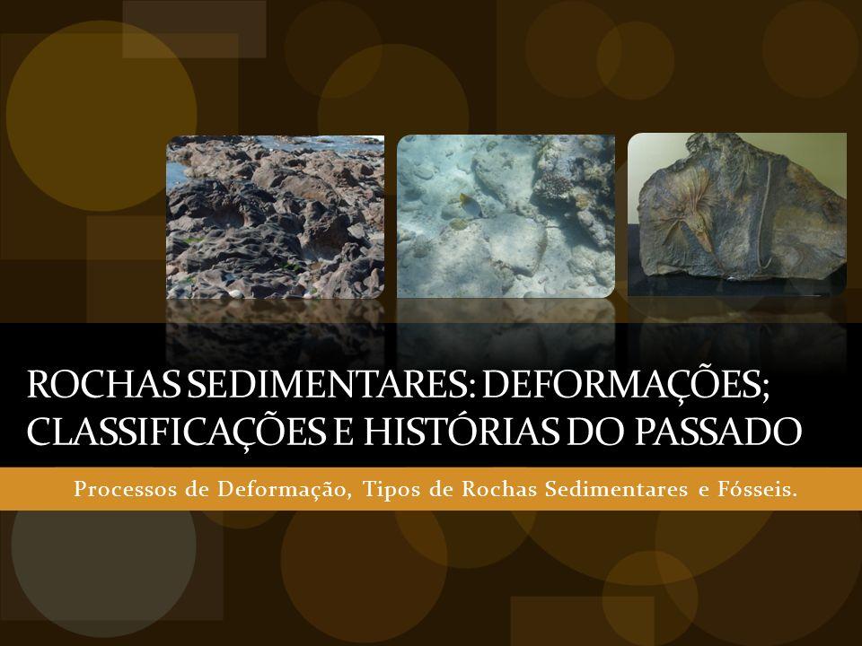 ROCHAS SEDIMENTARES: DEFORMAÇÕES; CLASSIFICAÇÕES E HISTÓRIAS DO PASSADO Processos de Deformação, Tipos de Rochas Sedimentares e Fósseis.