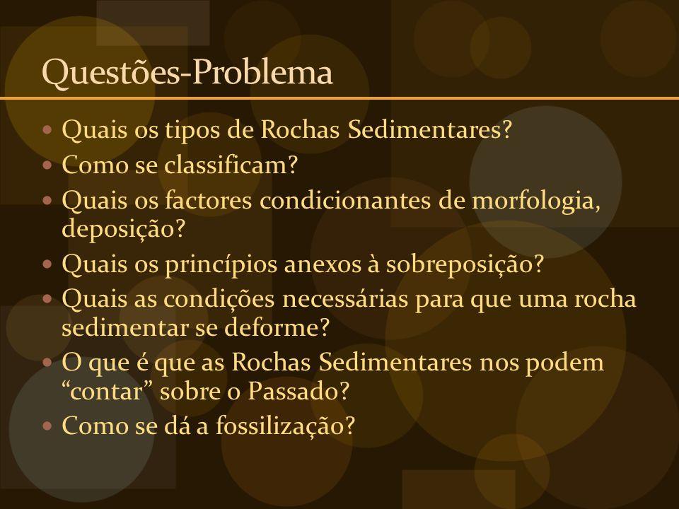 Questões-Problema Quais os tipos de Rochas Sedimentares? Como se classificam? Quais os factores condicionantes de morfologia, deposição? Quais os prin