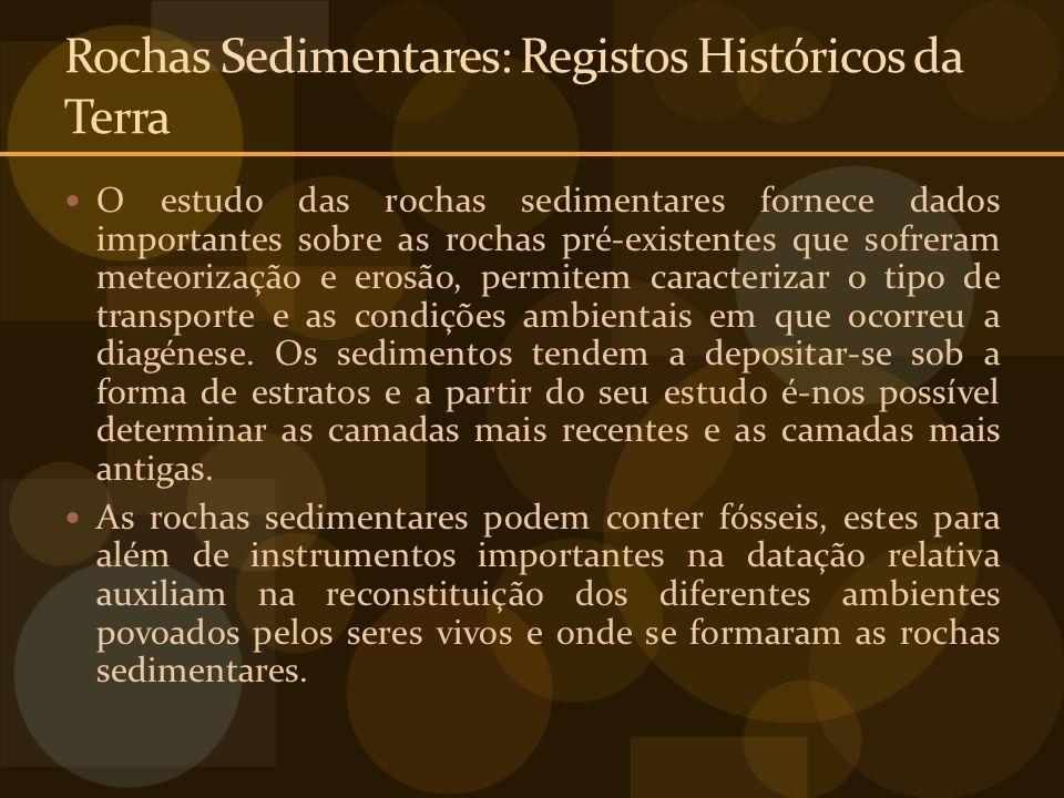 Rochas Sedimentares: Registos Históricos da Terra O estudo das rochas sedimentares fornece dados importantes sobre as rochas pré-existentes que sofrer