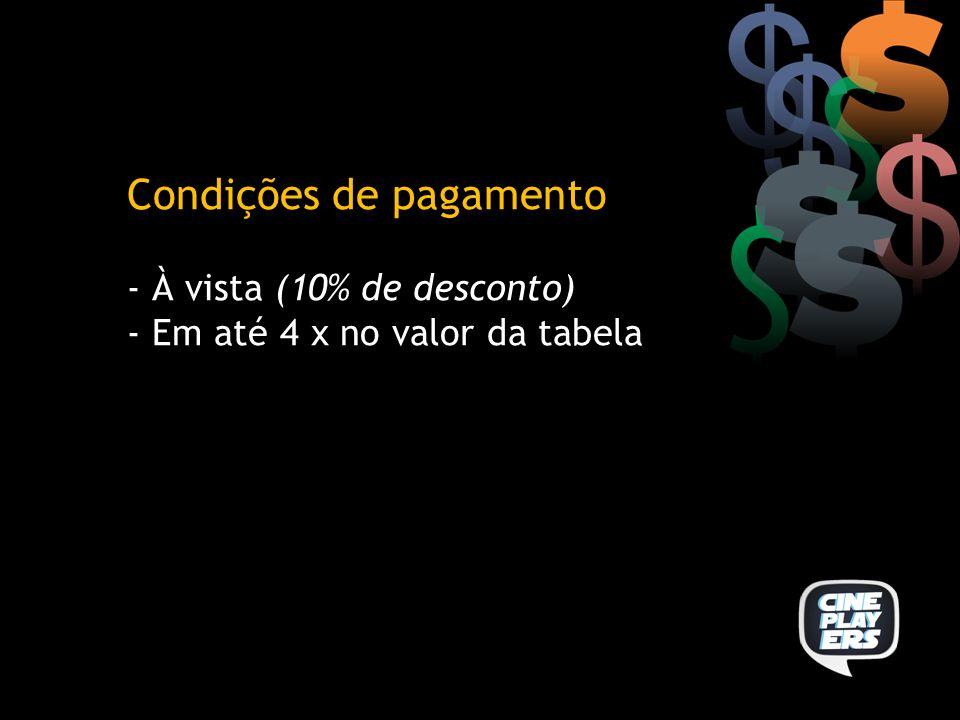 Condições de pagamento - À vista (10% de desconto) - Em até 4 x no valor da tabela