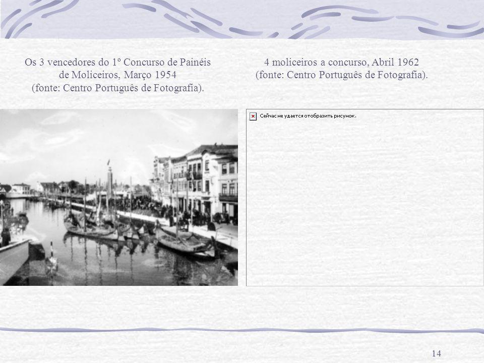 14 Os 3 vencedores do 1º Concurso de Painéis de Moliceiros, Março 1954 (fonte: Centro Português de Fotografia). 4 moliceiros a concurso, Abril 1962 (f