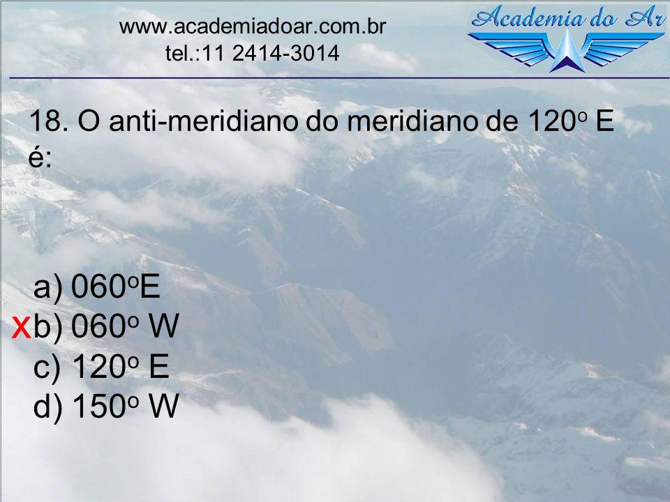 18. O anti-meridiano do meridiano de 120 o E é: www.academiadoar.com.br tel.:11 2414-3014 a)060 o E b)060 o W c)120 o E d)150 o W x