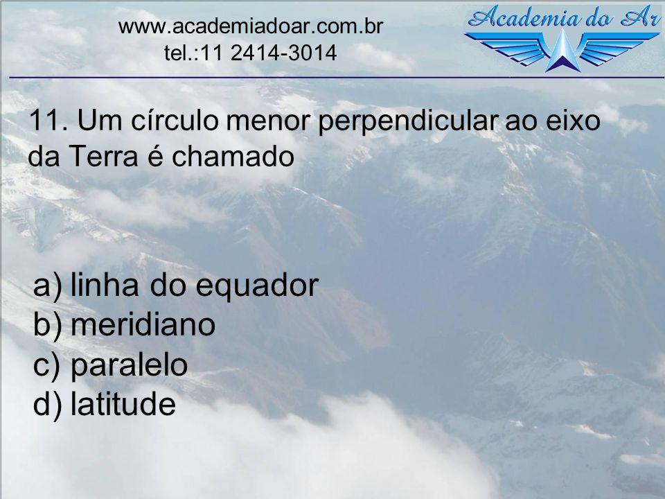 11. Um círculo menor perpendicular ao eixo da Terra é chamado www.academiadoar.com.br tel.:11 2414-3014 a)linha do equador b)meridiano c)paralelo d)la