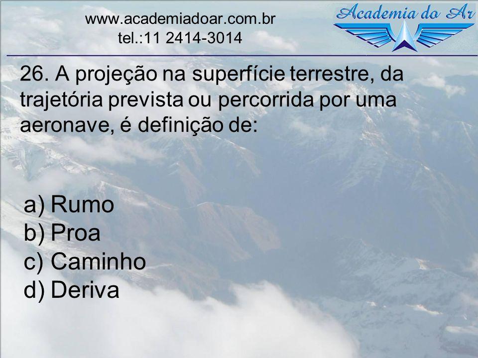 26. A projeção na superfície terrestre, da trajetória prevista ou percorrida por uma aeronave, é definição de: www.academiadoar.com.br tel.:11 2414-30