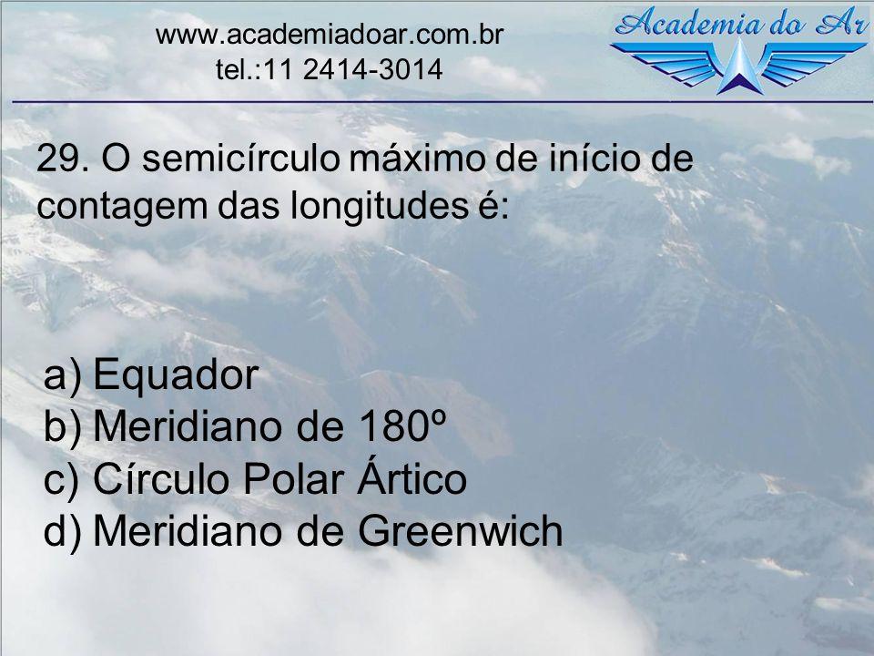 29. O semicírculo máximo de início de contagem das longitudes é: www.academiadoar.com.br tel.:11 2414-3014 a)Equador b)Meridiano de 180º c)Círculo Pol