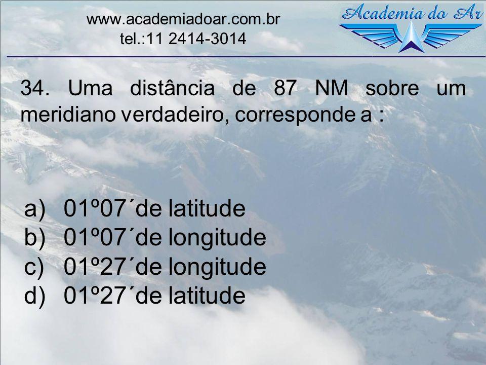 34. Uma distância de 87 NM sobre um meridiano verdadeiro, corresponde a : www.academiadoar.com.br tel.:11 2414-3014 a)01º07´de latitude b)01º07´de lon