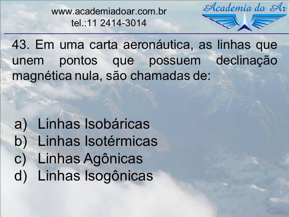 43. Em uma carta aeronáutica, as linhas que unem pontos que possuem declinação magnética nula, são chamadas de: www.academiadoar.com.br tel.:11 2414-3