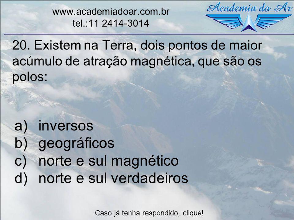 20. Existem na Terra, dois pontos de maior acúmulo de atração magnética, que são os polos: www.academiadoar.com.br tel.:11 2414-3014 a)inversos b)geog