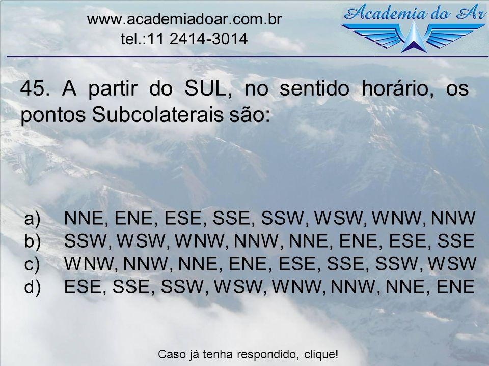 45. A partir do SUL, no sentido horário, os pontos Subcolaterais são: www.academiadoar.com.br tel.:11 2414-3014 a)NNE, ENE, ESE, SSE, SSW, WSW, WNW, N