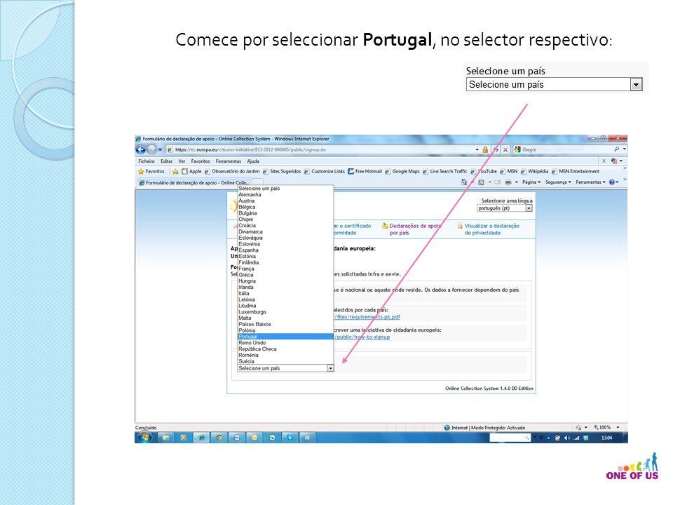 Comece por seleccionar Portugal, no selector respectivo: