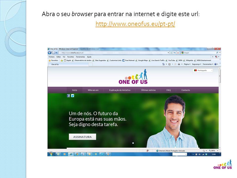 Se entrou por este url: http://www.oneofus.eu/ irá, por defeito, para a página de entrada em língua inglesa.