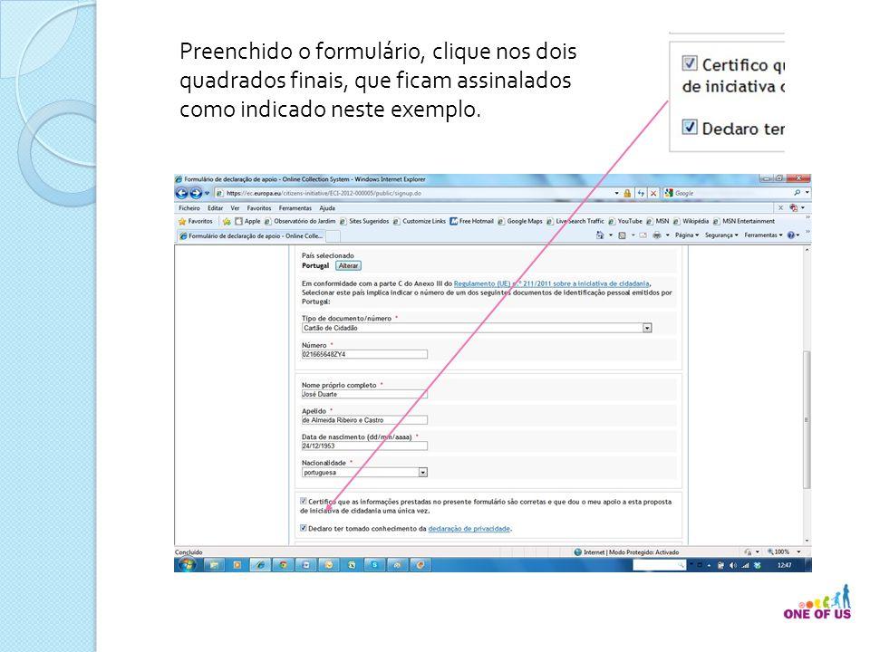 Preenchido o formulário, clique nos dois quadrados finais, que ficam assinalados como indicado neste exemplo.