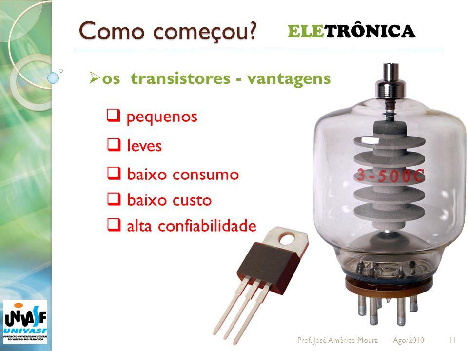 Como começou? 11 ELETRÔNICA os transistores - vantagens pequenos leves baixo consumo baixo custo alta confiabilidade Prof. José Américo Moura Ago/2010