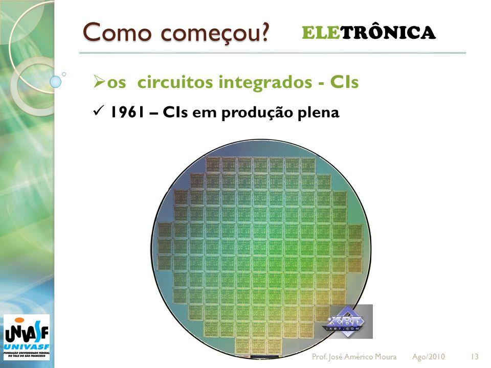 Como começou? 13 ELETRÔNICA os circuitos integrados - CIs 1961 – CIs em produção plena Prof. José Américo Moura Ago/2010
