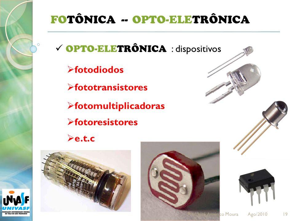 19 FOTÔNICA -- OPTO-ELETRÔNICA : dispositivos fotodiodos OPTO-ELETRÔNICA fototransistores fotomultiplicadoras fotoresistores e.t.c Prof.