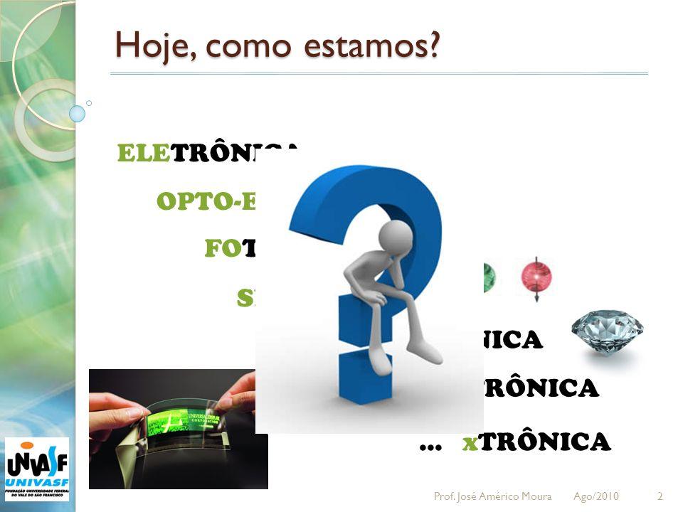 Hoje, como estamos? 2 ELETRÔNICA OPTO-ELETRÔNICA FOTÔNICA SPINTRÔNICA NANOELETRÔNICA ORGANOTRÔNICA... xTRÔNICA Prof. José Américo Moura Ago/2010
