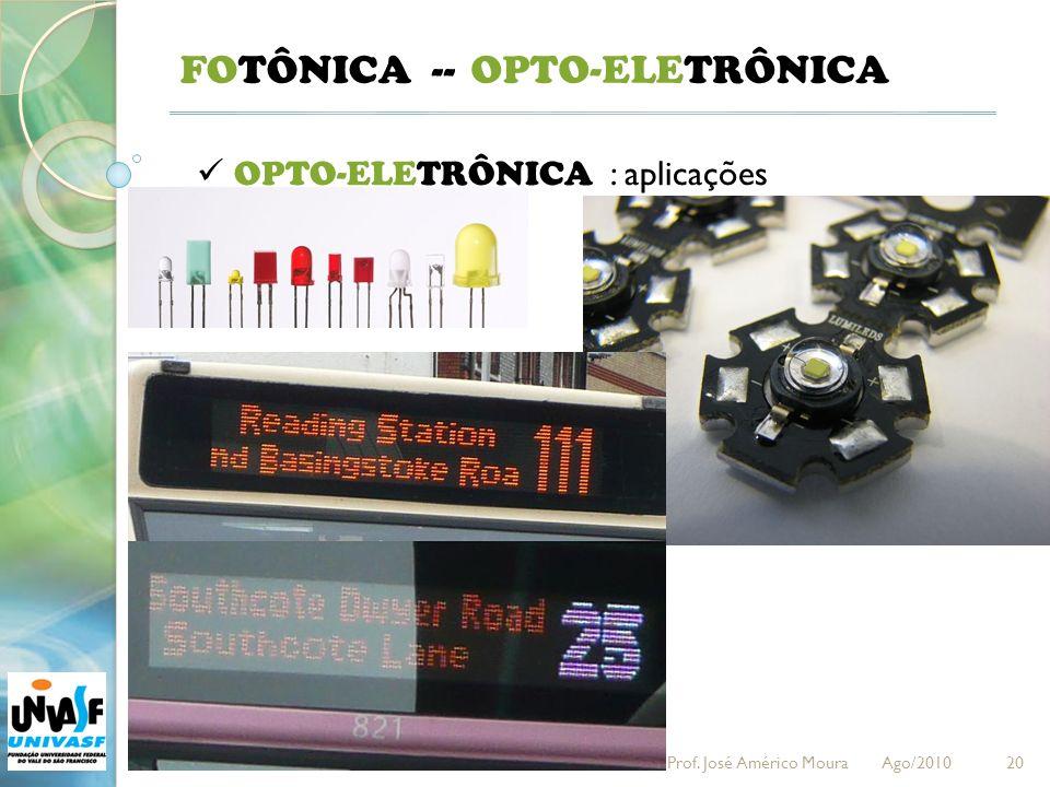 20 FOTÔNICA -- OPTO-ELETRÔNICA : aplicações OPTO-ELETRÔNICA Prof. José Américo Moura Ago/2010
