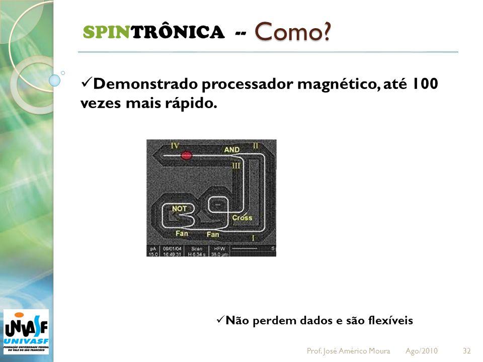 32 SPINTRÔNICA -- Como? Demonstrado processador magnético, até 100 vezes mais rápido. Não perdem dados e são flexíveis Prof. José Américo Moura Ago/20