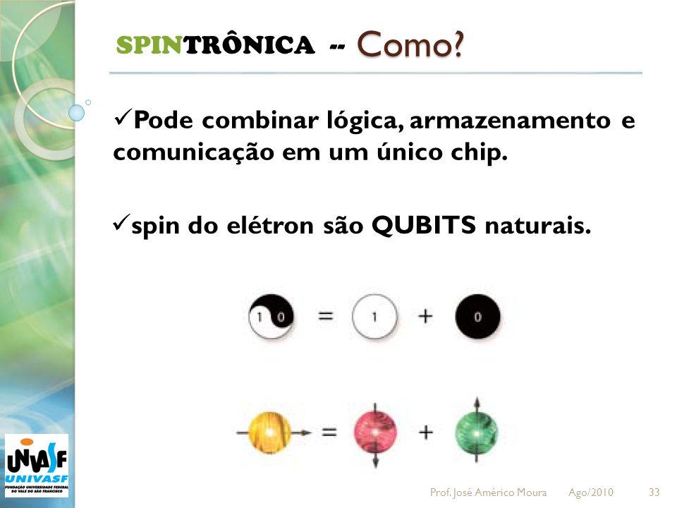 33 SPINTRÔNICA -- Como? Pode combinar lógica, armazenamento e comunicação em um único chip. spin do elétron são QUBITS naturais. Prof. José Américo Mo