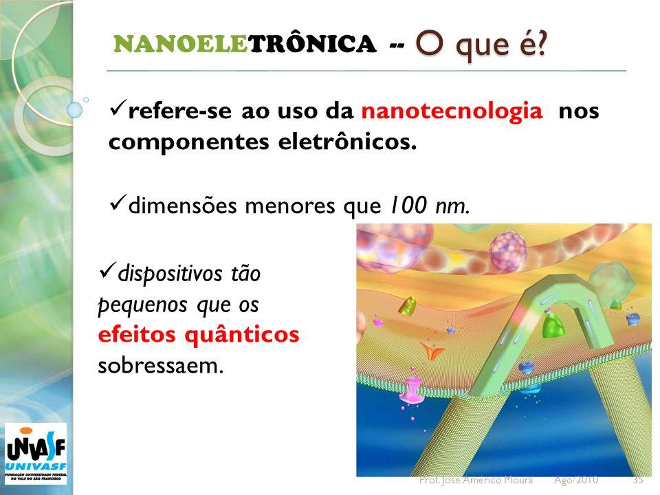 35 NANOELETRÔNICA -- O que é? refere-se ao uso da nanotecnologia nos componentes eletrônicos. dimensões menores que 100 nm. dispositivos tão pequenos