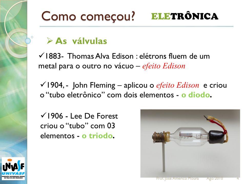 Como começou? 4 ELETRÔNICA 1883- Thomas Alva Edison : elétrons fluem de um metal para o outro no vácuo – efeito Edison 1904, - John Fleming – aplicou