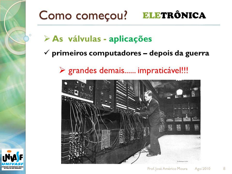 Como começou? 8 ELETRÔNICA As válvulas - aplicações primeiros computadores – depois da guerra grandes demais...... impraticável!!! Prof. José Américo