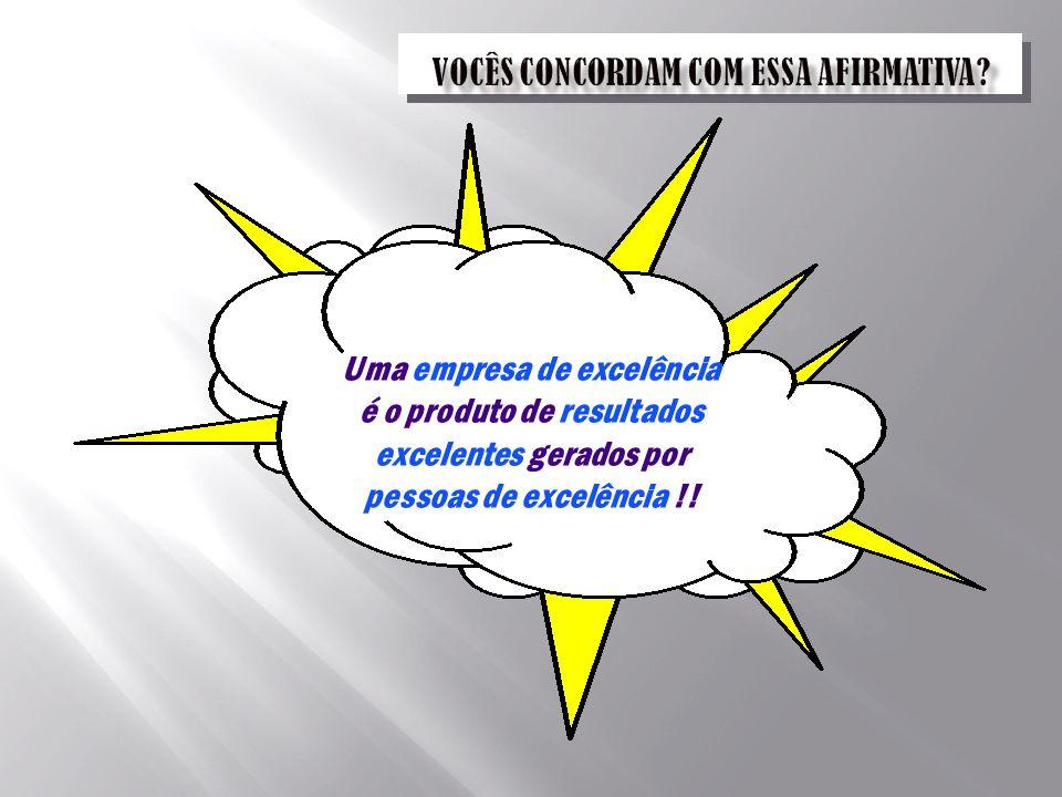 Uma empresa de excelência é o produto de resultados excelentes gerados por pessoas de excelência !!