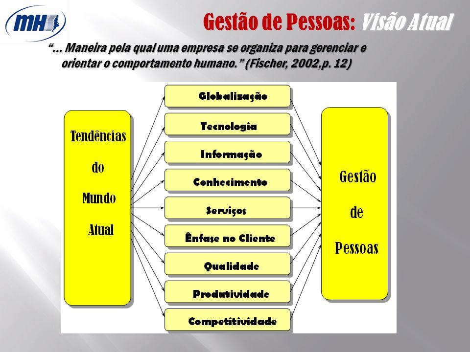 Gestão de Pessoas: Visão Atual... Maneira pela qual uma empresa se organiza para gerenciar e orientar o comportamento humano. (Fischer, 2002,p. 12)