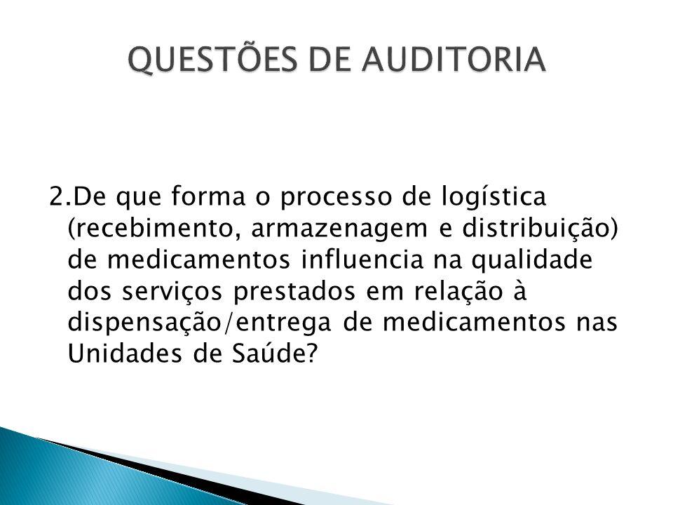 2.De que forma o processo de logística (recebimento, armazenagem e distribuição) de medicamentos influencia na qualidade dos serviços prestados em rel