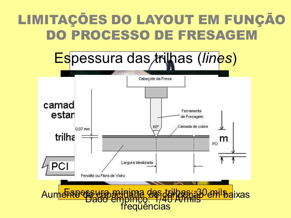 LIMITAÇÕES DO LAYOUT EM FUNÇÃO DO PROCESSO DE FRESAGEM Espessura das trilhas (lines) R/ l = /A [/m] onde: R é a resistência elétrica; é a resistividad