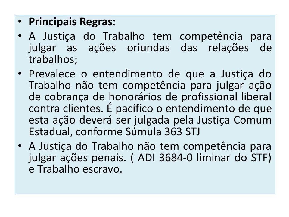 Principais Regras: A Justiça do Trabalho tem competência para julgar as ações oriundas das relações de trabalhos; Prevalece o entendimento de que a Ju