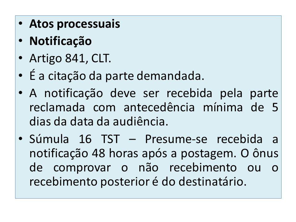 Atos processuais Notificação Artigo 841, CLT. É a citação da parte demandada. A notificação deve ser recebida pela parte reclamada com antecedência mí