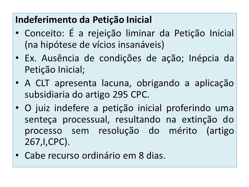 Indeferimento da Petição Inicial Conceito: É a rejeição liminar da Petição Inicial (na hipótese de vícios insanáveis) Ex. Ausência de condições de açã
