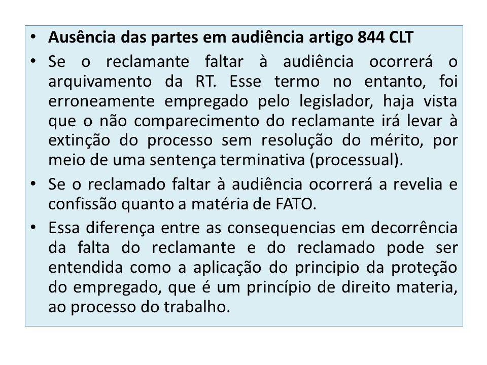 Ausência das partes em audiência artigo 844 CLT Se o reclamante faltar à audiência ocorrerá o arquivamento da RT. Esse termo no entanto, foi erroneame
