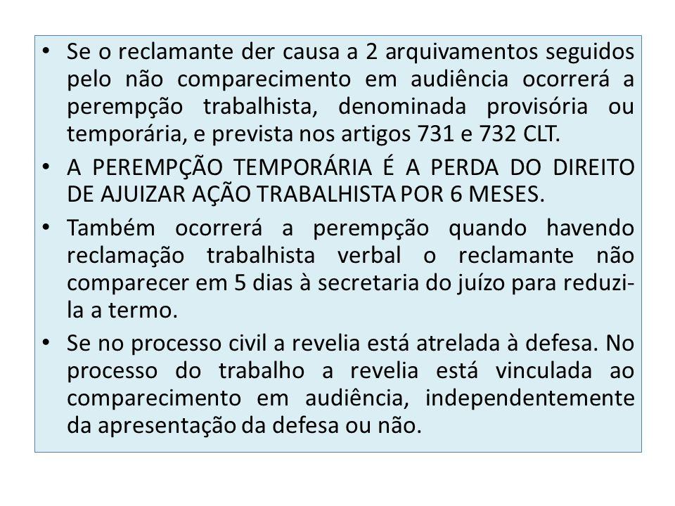 Se o reclamante der causa a 2 arquivamentos seguidos pelo não comparecimento em audiência ocorrerá a perempção trabalhista, denominada provisória ou t