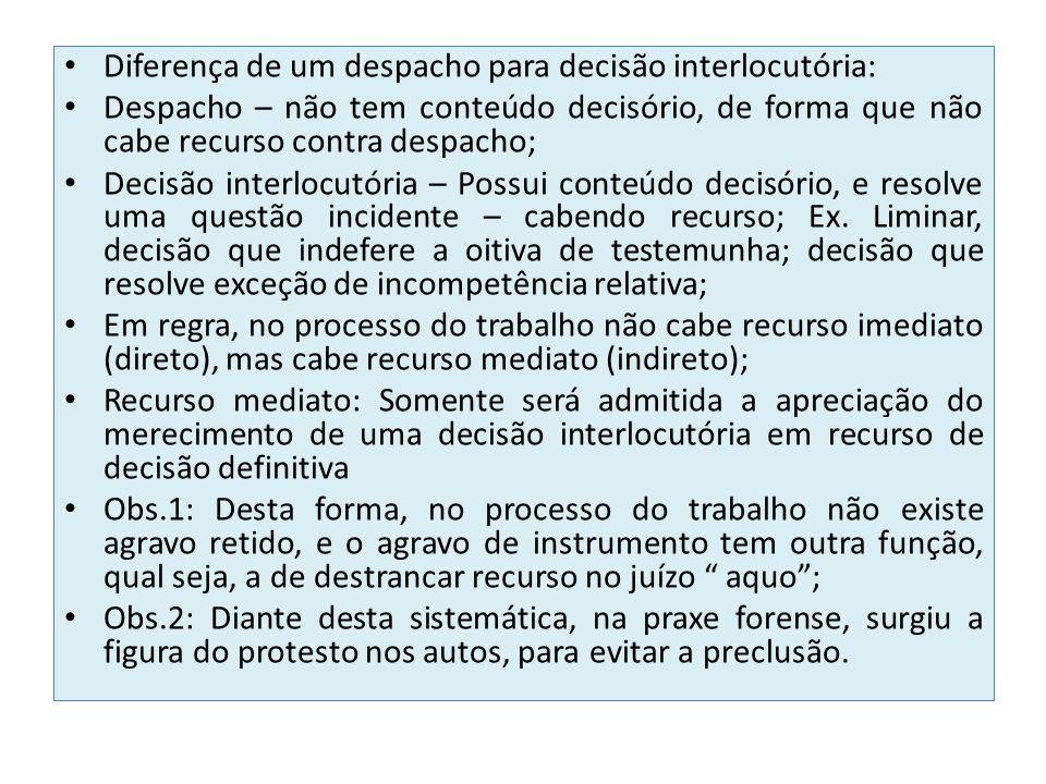 Diferença de um despacho para decisão interlocutória: Despacho – não tem conteúdo decisório, de forma que não cabe recurso contra despacho; Decisão in