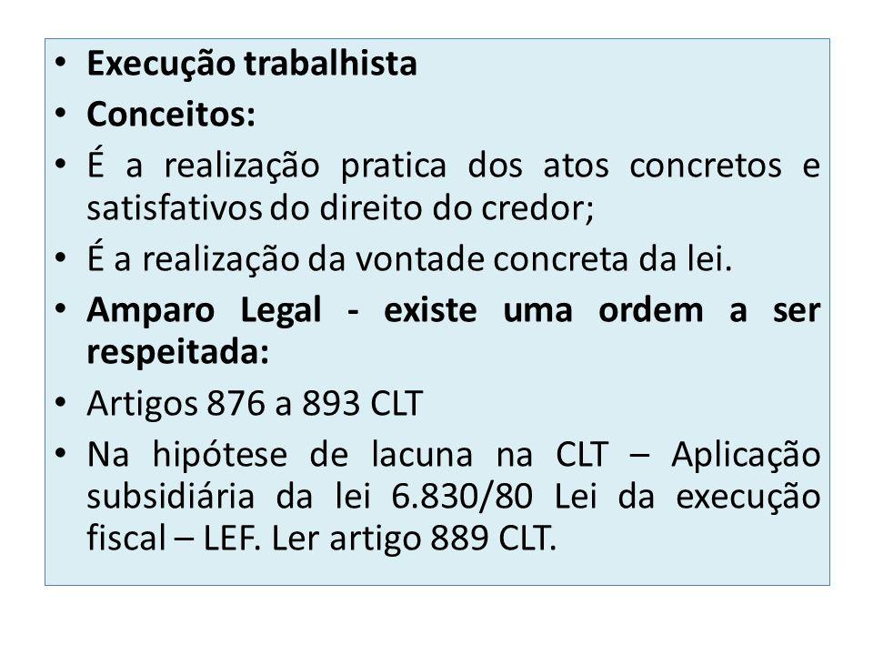 Execução trabalhista Conceitos: É a realização pratica dos atos concretos e satisfativos do direito do credor; É a realização da vontade concreta da lei.