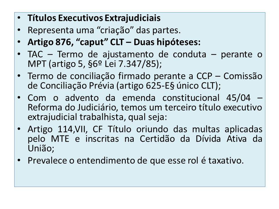 Títulos Executivos Extrajudiciais Representa uma criação das partes. Artigo 876, caput CLT – Duas hipóteses: TAC – Termo de ajustamento de conduta – p