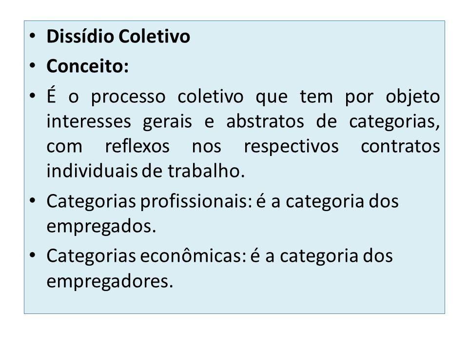 Dissídio Coletivo Conceito: É o processo coletivo que tem por objeto interesses gerais e abstratos de categorias, com reflexos nos respectivos contrat