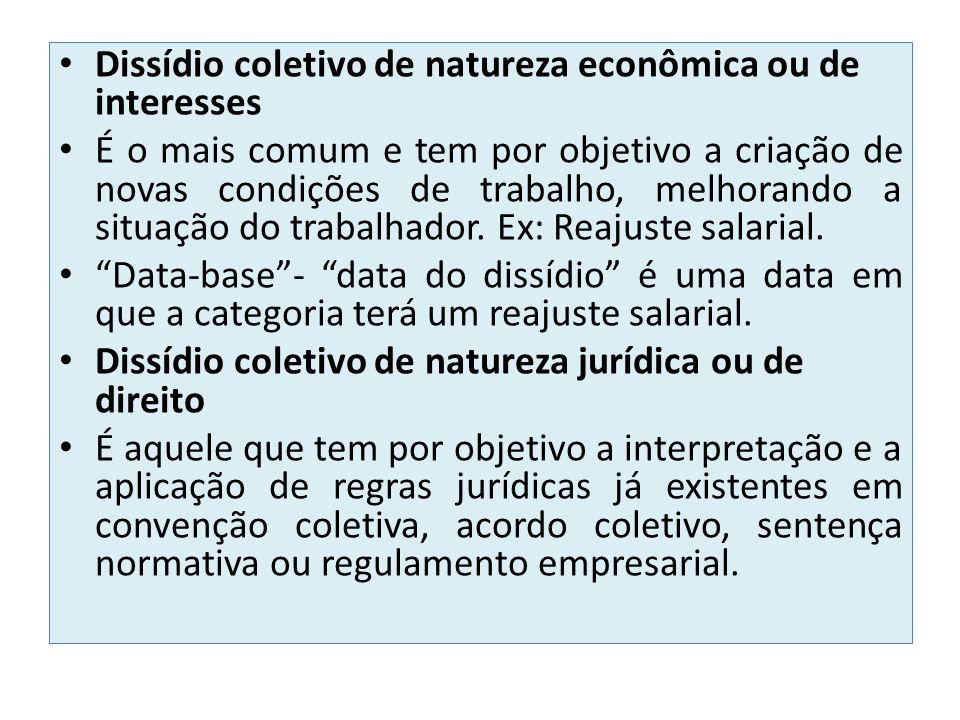 Dissídio coletivo de natureza econômica ou de interesses É o mais comum e tem por objetivo a criação de novas condições de trabalho, melhorando a situ