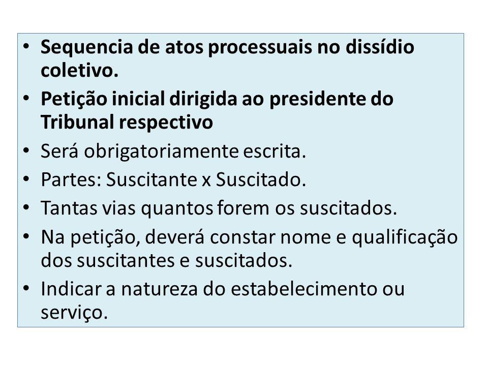 Sequencia de atos processuais no dissídio coletivo. Petição inicial dirigida ao presidente do Tribunal respectivo Será obrigatoriamente escrita. Parte