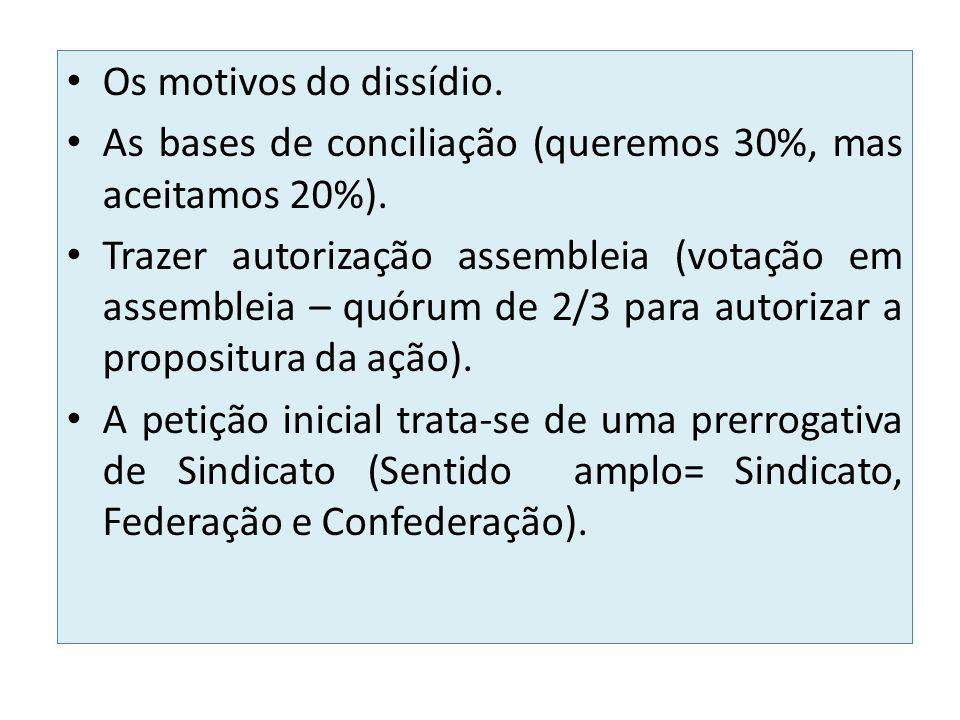 Os motivos do dissídio. As bases de conciliação (queremos 30%, mas aceitamos 20%). Trazer autorização assembleia (votação em assembleia – quórum de 2/