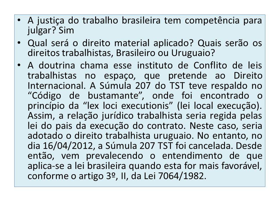 A justiça do trabalho brasileira tem competência para julgar? Sim Qual será o direito material aplicado? Quais serão os direitos trabalhistas, Brasile