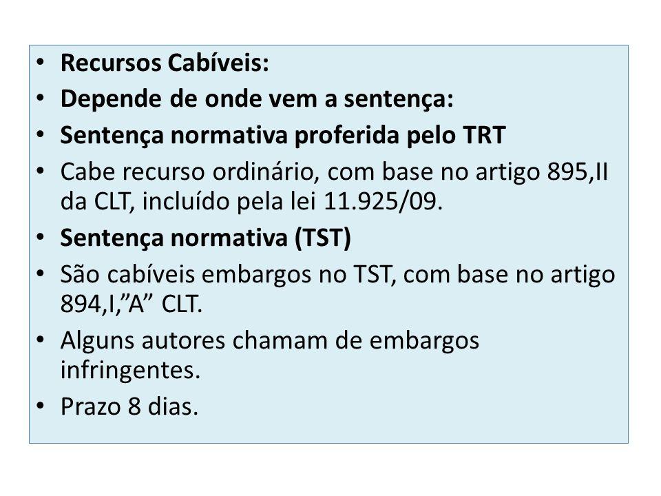 Recursos Cabíveis: Depende de onde vem a sentença: Sentença normativa proferida pelo TRT Cabe recurso ordinário, com base no artigo 895,II da CLT, inc