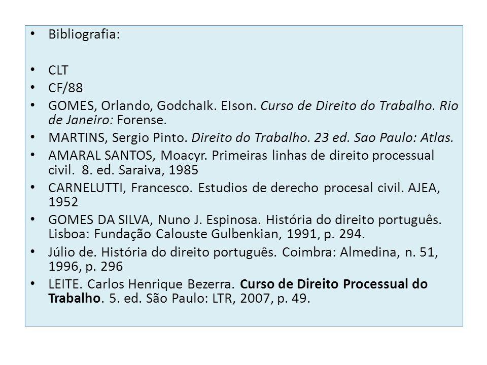 Bibliografia: CLT CF/88 GOMES, Orlando, GodchaIk. EIson. Curso de Direito do Trabalho. Rio de Janeiro: Forense. MARTINS, Sergio Pinto. Direito do Trab