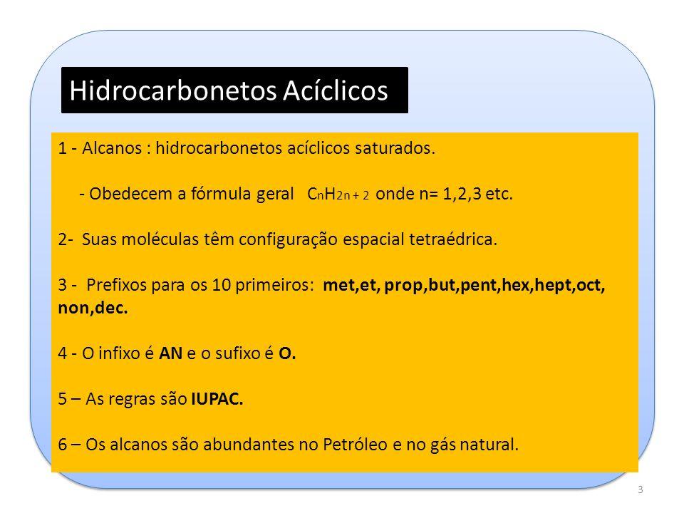 Hidrocarbonetos Acíclicos 1 - Alcanos : hidrocarbonetos acíclicos saturados. - Obedecem a fórmula geral C n H 2n + 2 onde n= 1,2,3 etc. 2- Suas molécu