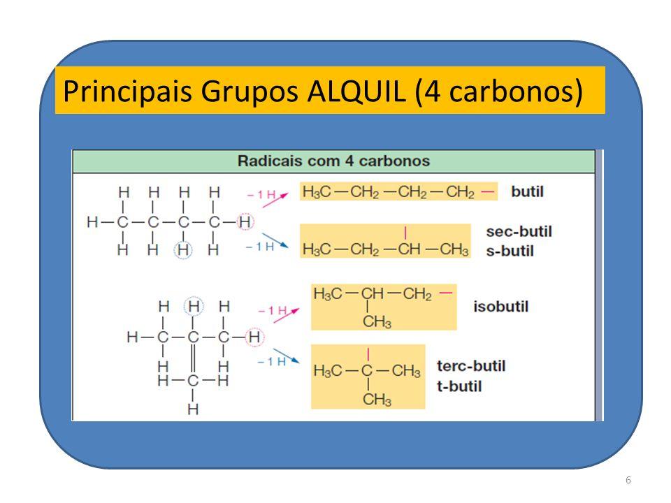 6 Principais Grupos ALQUIL (4 carbonos)