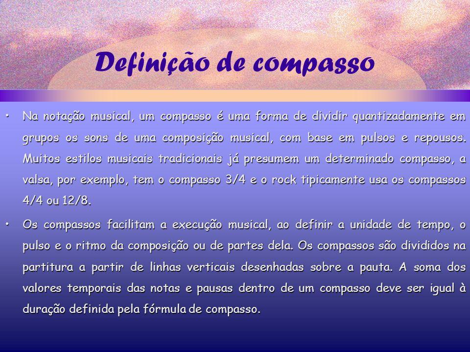 Definição de compasso Na notação musical, um compasso é uma forma de dividir quantizadamente em grupos os sons de uma composição musical, com base em pulsos e repousos.